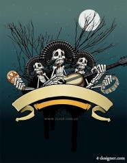 Skull bones play the guitar vector material