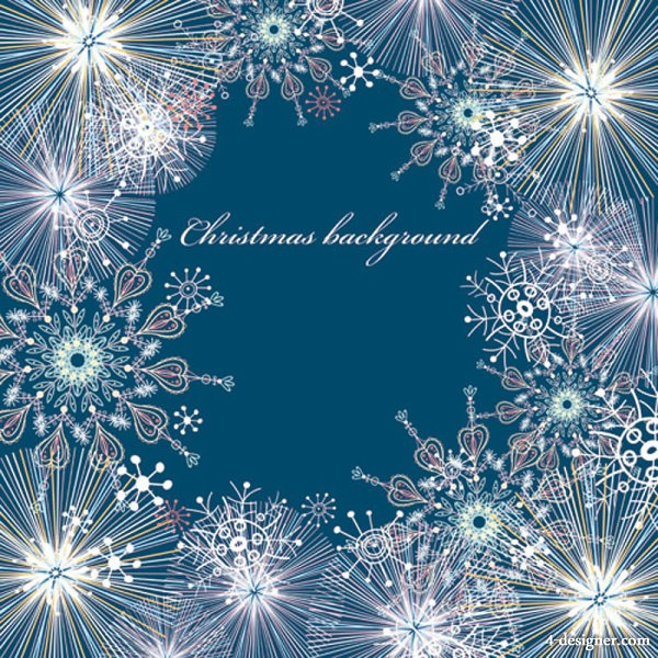 The beautifully snowflake pattern background 05   vector material