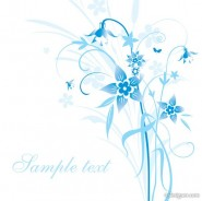 The minimalist blue hand painted flowers and patterns of text in the background vector material  5