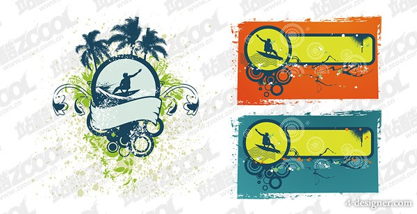 The trend Windsurfing theme vector material