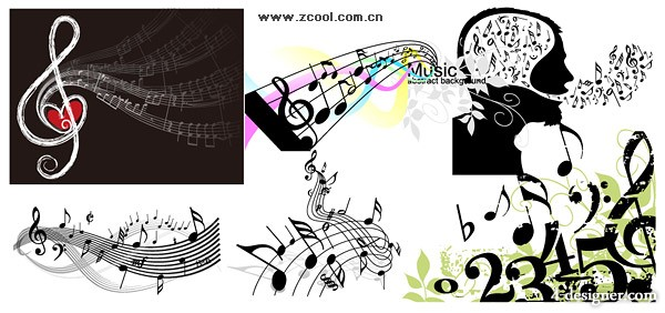 A variety of music note theme vector