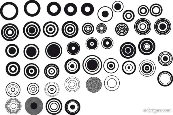 Black and white design elements series vector material  1 simple circular