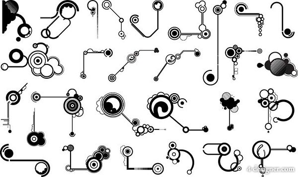 Black and white design elements series vector material  11 lines shape