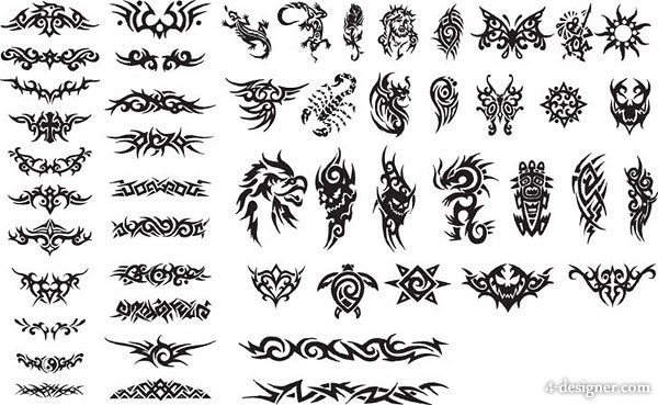 Black and white design elements series vector material  15 totem