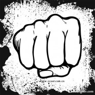 Fist and ink border vector material