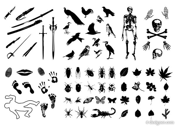 Swords bird skull imprint insect leaves silhouette vector material