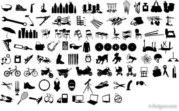 The  12 goods silhouette of the black and white design elements series vector material