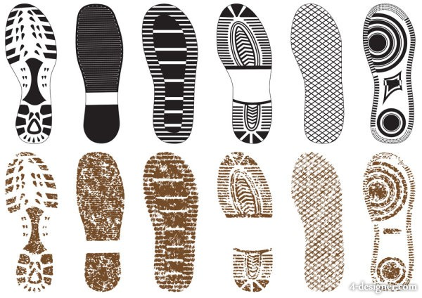 A variety of exquisite shoe print 02   vector material