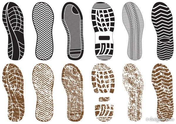 A variety of exquisite shoe print 03   vector material