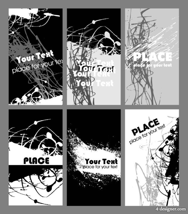 Black and white rust design card template vector material  1
