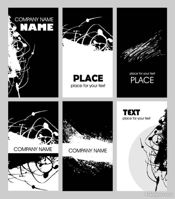 Black and white rust design card template vector material  2