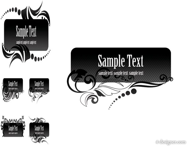 Black the aesthetic text box vector material