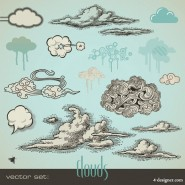 Pen drawing style clouds Vector