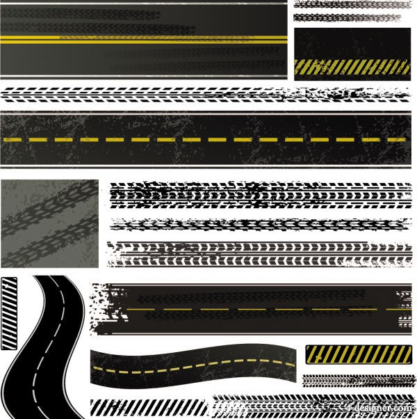 The scene of the accident tire brake printed material 03   vector material