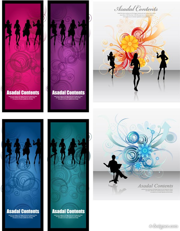 Fashion background flowers female silhouette vector material