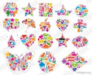 The colorful graphics shape composed Vector