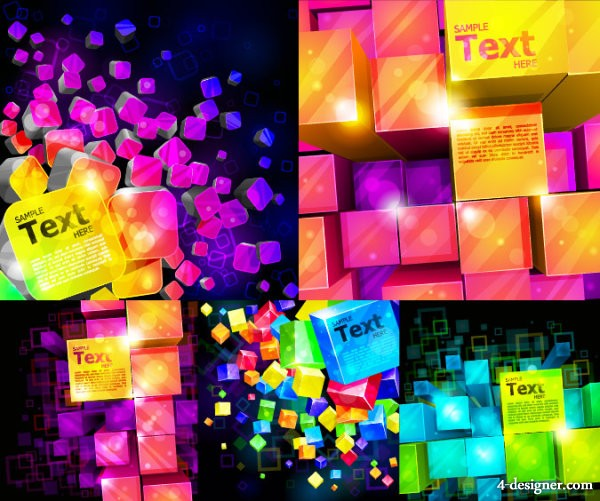 Of colorful cubes backgrounds vector material