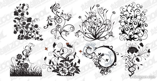 8 models trend pattern and Plant vector material