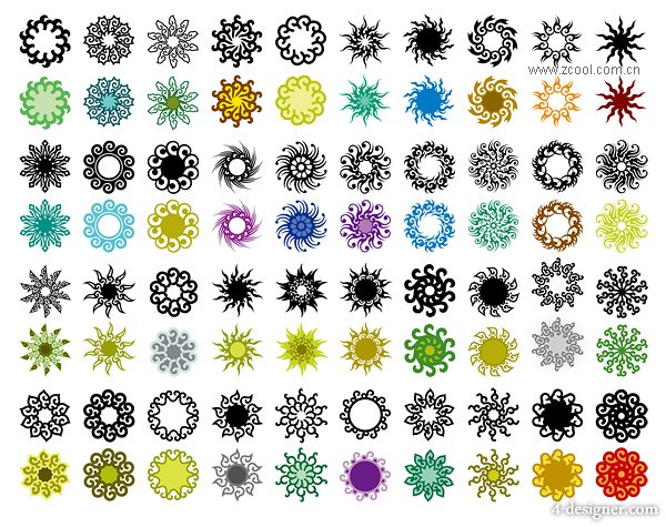 A variety of classical circular pattern element vector material  3