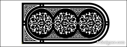 Black and white European style gate pattern vector material  2