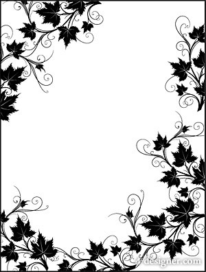 Black and white rattan plant lace border vector material