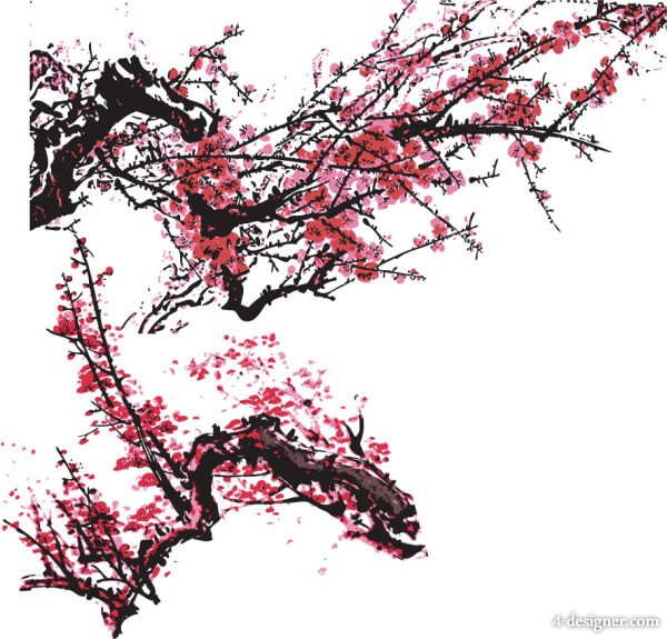 Both Chinese painting plum blossom vector
