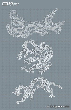 Chinese classical line drawing dragon pattern vector material