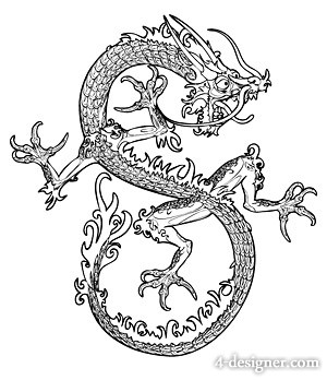 Cool Chinese dragon vector material  3