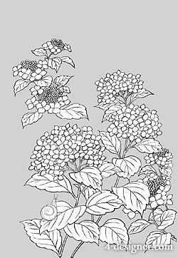 Japanese line drawing of plant flowers vector material  1