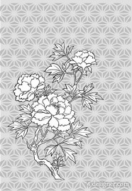Japanese line drawing of plant flowers vector material  11 (peony)
