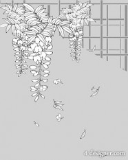 Japanese line drawing of plant flowers vector material  13 unknown flower