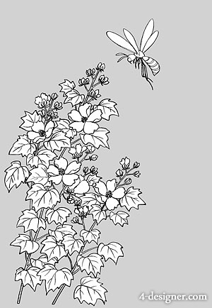 Japanese line drawing of plant flowers vector material  15 bees with hibiscus flowers