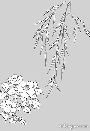 Japanese line drawing of plant flowers vector material  16 willow branches Tsubaki