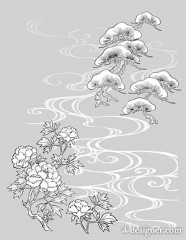 Japanese line drawing of plant flowers vector material  18 pine, peony landscapes