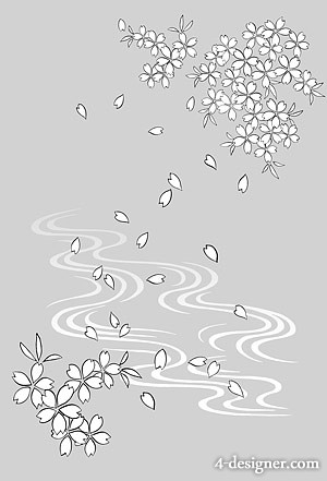 Japanese line drawing of plant flowers vector material  19 water flowers