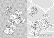 Japanese line drawing of plant flowers vector material  21 lotus, lotus, water