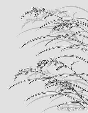 Japanese line drawing of plant flowers vector material  23 Rice