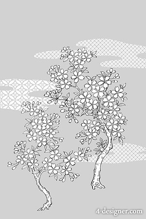 Japanese line drawing of plant flowers vector material  25 cherry blossoms, clouds, background