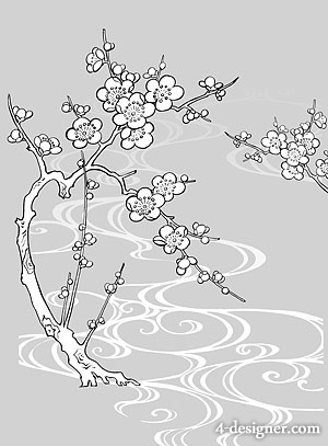 Japanese line drawing of plant flowers vector material  30 of Plum, water