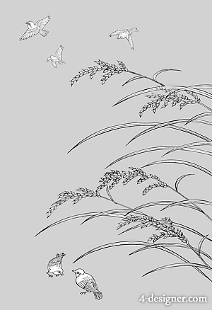 Japanese line drawing of plant flowers vector material  33 Rice, birds