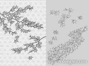 Japanese line drawing of plant flowers vector material  34 leaves, Maple Leaf