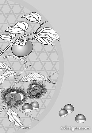 Japanese line drawing of plant flowers vector material  4 chestnuts, persimmons