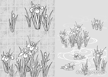 Japanese line drawing of plant flowers vector material  44 rattan, gilded lattice