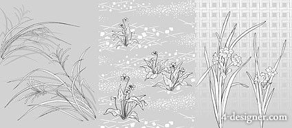 Japanese line drawing of plant flowers vector material  48 Flower and grass