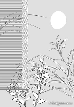 Japanese line drawing of plant flowers vector material  8 classical background with flowers