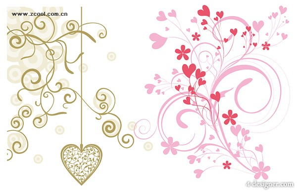 Models fashion heart shaped pattern vector material