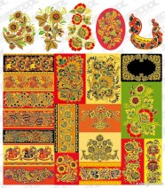 Series of classical pattern vector material  5   lace pattern vector