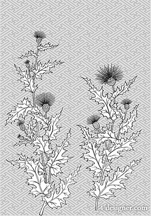 The classical texture background with flowers of the Japanese line drawing of plant flowers vector material  10