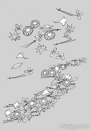 The leaves and flowers of the Japanese line drawing of plant flowers vector material  14