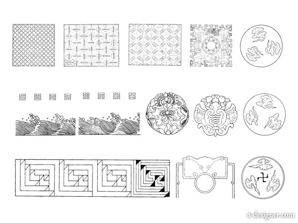 12 classical Chinese traditional vector material